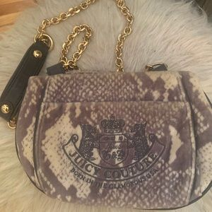 Juicy Couture Tassel Grey Velvet Cross Body Bag